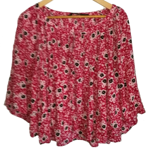 Zara Oversized Red & Floral Print Top, size XS